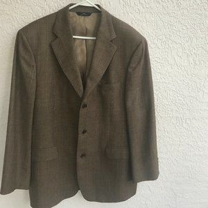 BROOKS BROTHERS SPORT COAT SUIT JACKET PLAID BROWN